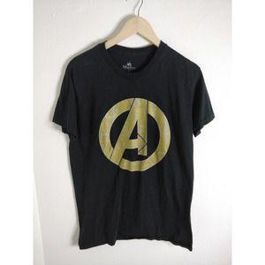 "Disney Avengers Black Gold ""A"" Graphic T-shirt L"